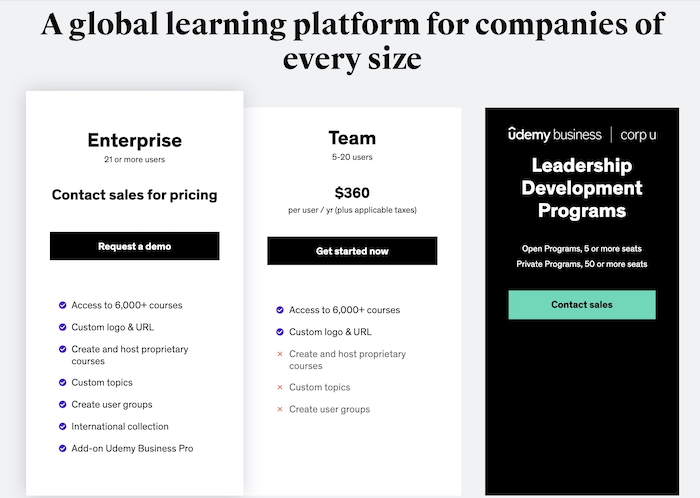 Udemy Business Plans