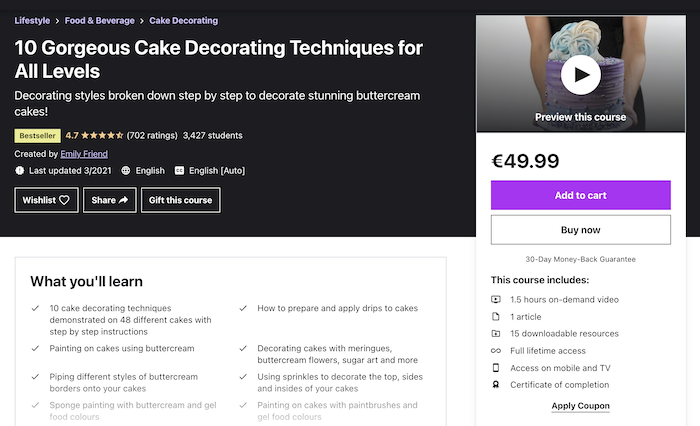 Udemy 10 Gorgeous Cake Decorating Techniques for All Levels