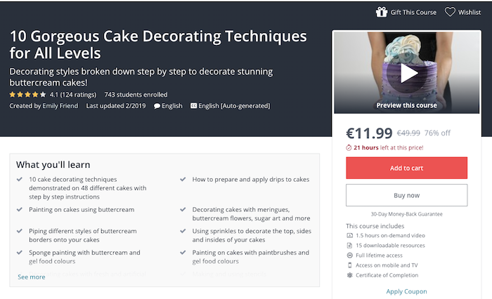 Udemy Cake Decoration