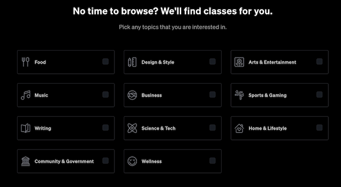 MasterClass Categories