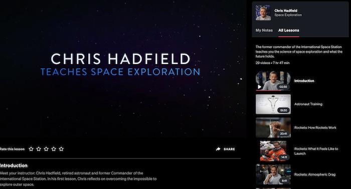 MasterClass Chris Hadfield Teaches Space Exploration