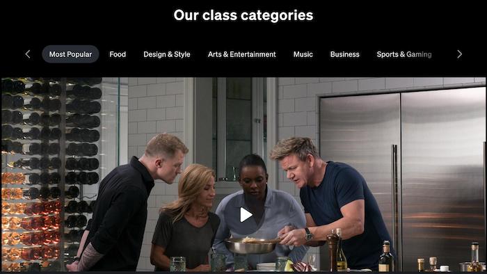 MasterClass Class Categories