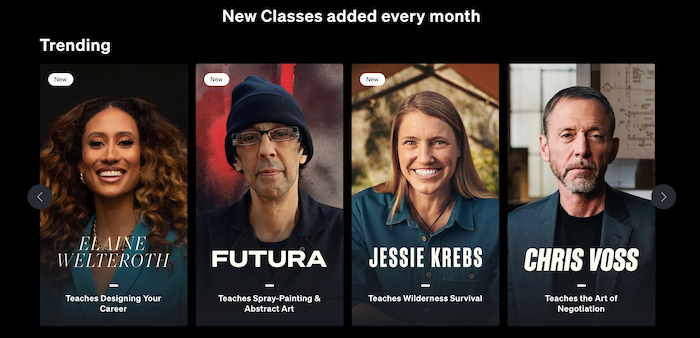 MasterClass new classes every month