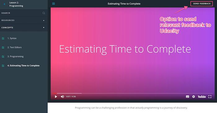Udacity What is programming Send Feedback