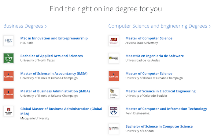 Available Coursera degrees