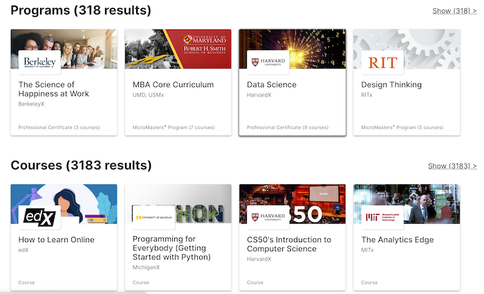 edX Programs and Courses