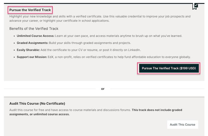edX pursue the verified track