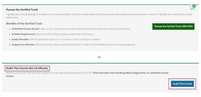 edX audit this course