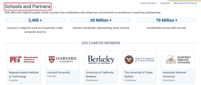 edX schools and partners
