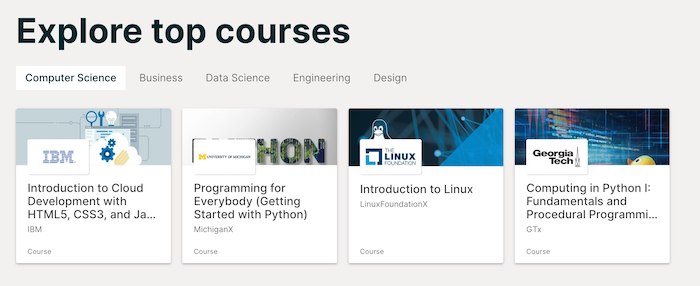 edX top courses