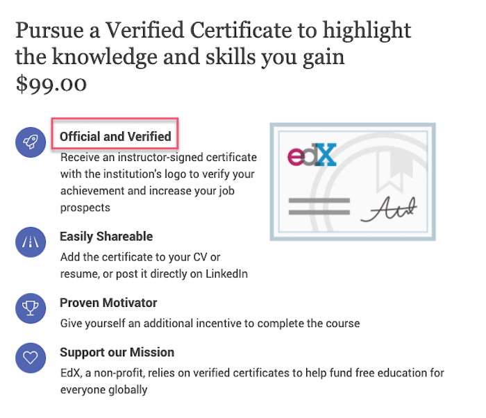Edx verified certificates