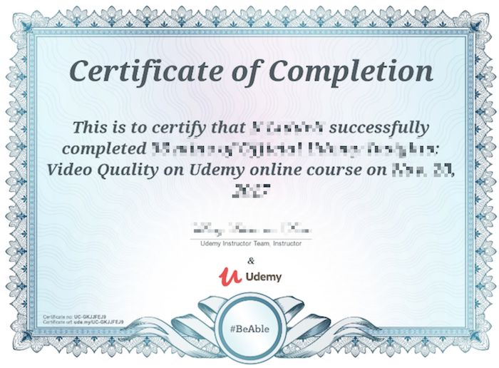 Example of Udemy certificate