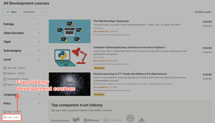 Free Udemy development courses (almost 2,000)
