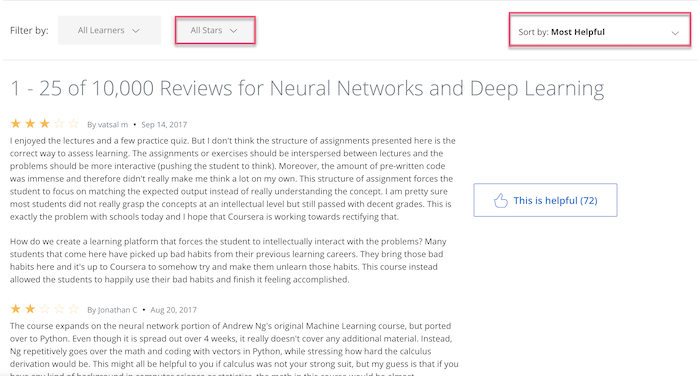 Coursera reviews filter