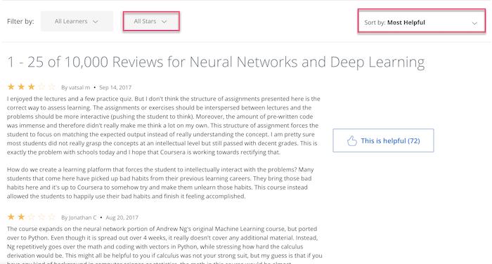 Coursera reviews filter