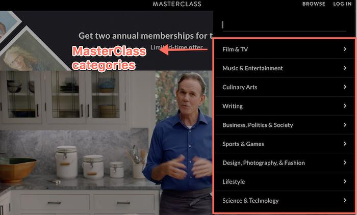 Master Class Categories