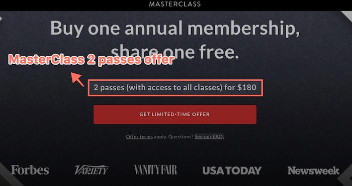MasterClass 2 passes offer