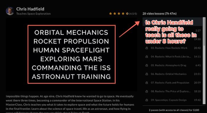 MasterClass space exploration course