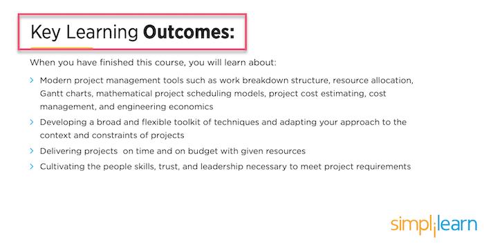 Simplilearn key learning outcomes