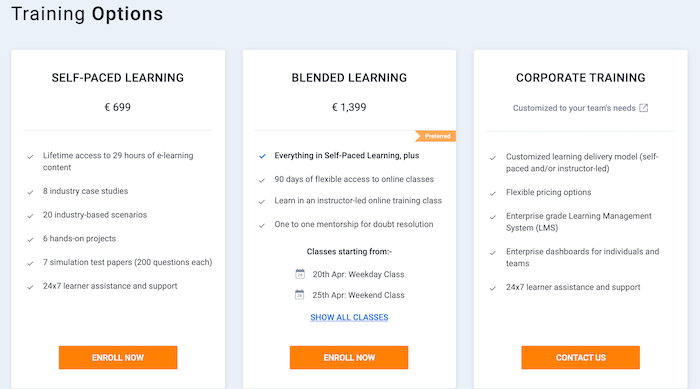 Simplilearn training options