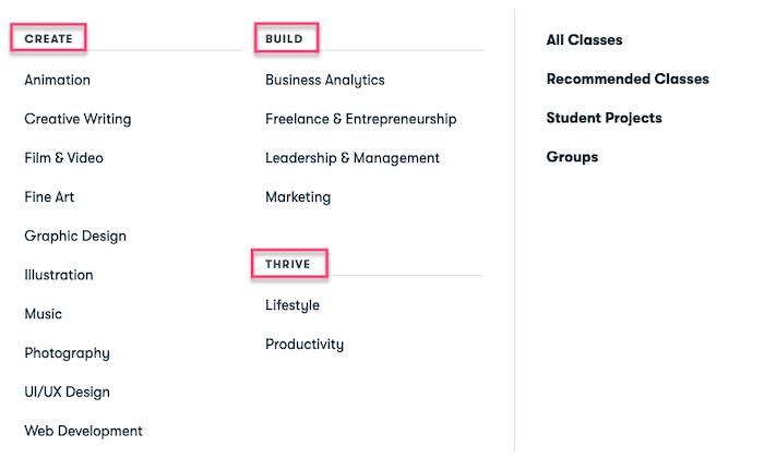 Skillshare Categories