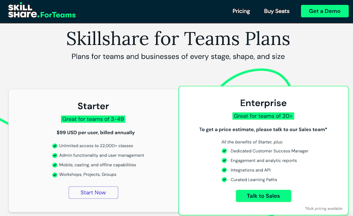 Skillshare teams plans