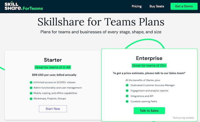 Skillshare teams plans
