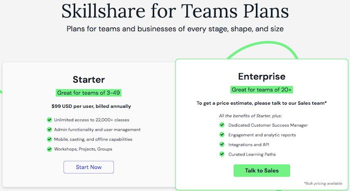 Skillshare teams tiers