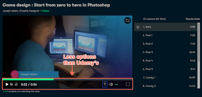 Skillshare video player options