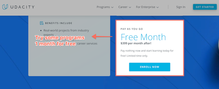 Udacity 1 month free trial