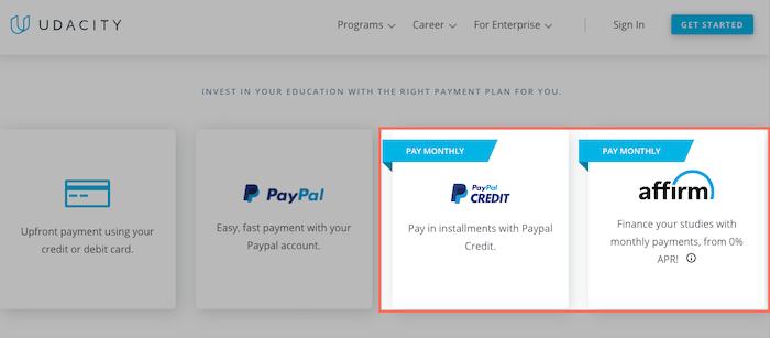 Udacity financial aid