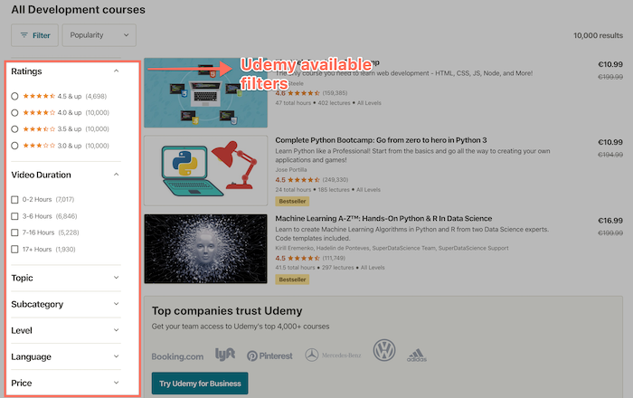 Udemy course filters