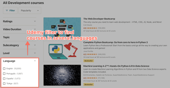 Udemy courses in other languages