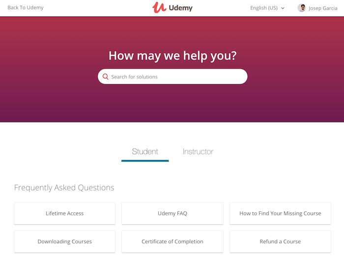 Udemy help system
