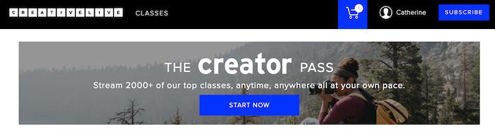 CreativeLive The creator Pass Option