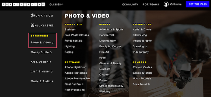 CreativeLive categories