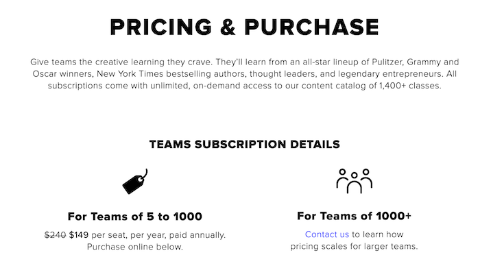 CreativeLive For Teams Pricing