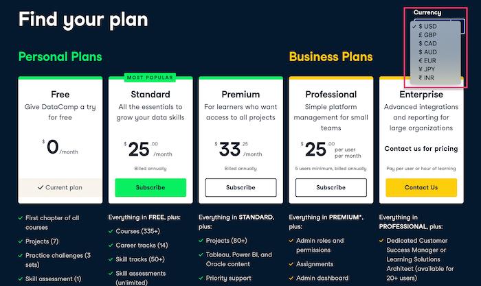 Datacamp Find your plan