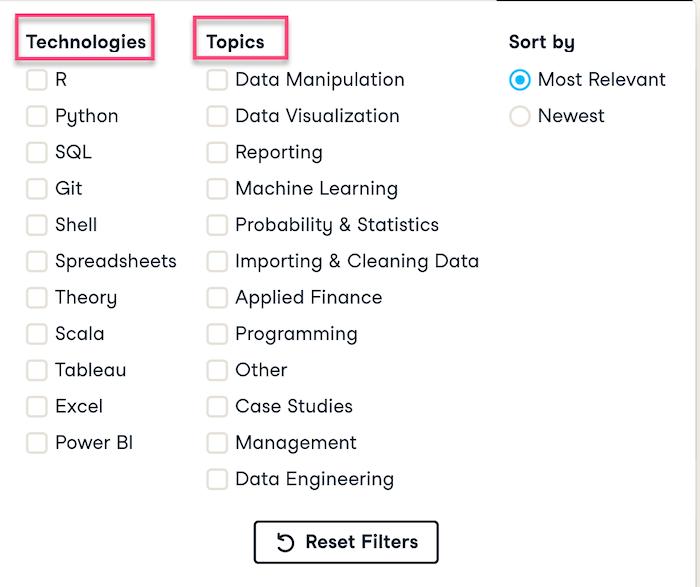 Datacamp Filter Technologies