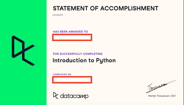 Datacamp Statement of accomplishment
