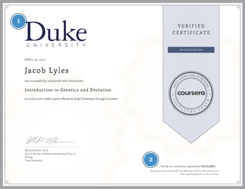 Coursera verified certificate example