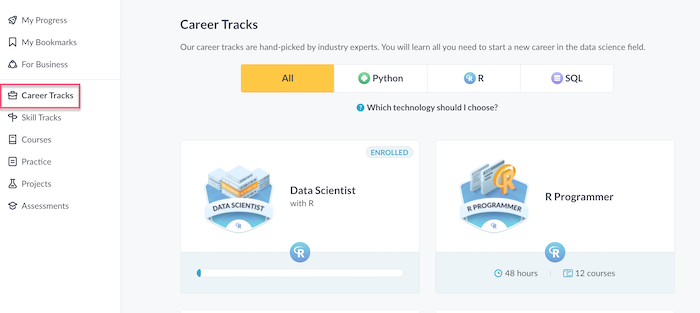 Datacamp Career Tracks