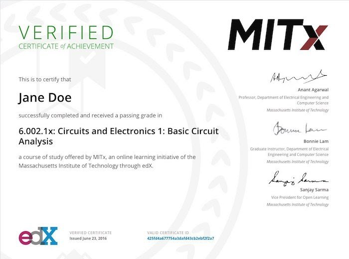 edX verified certificate example