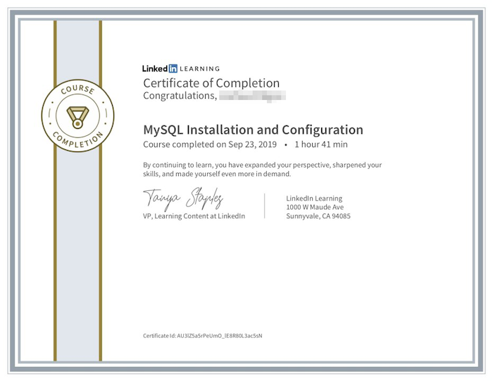 LinkedIn Learning certificate