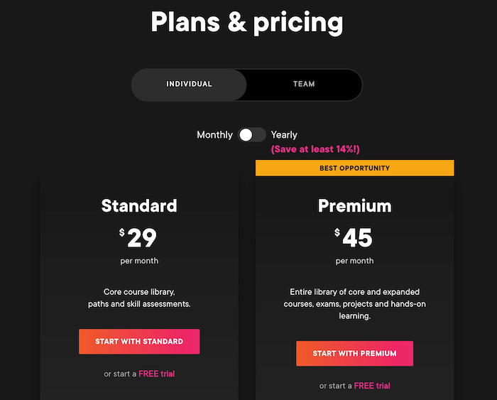 Pluralsight Individual Pricing