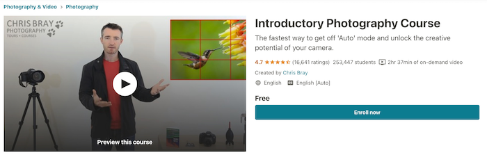 Udemy Free Course Introductory Photography Course