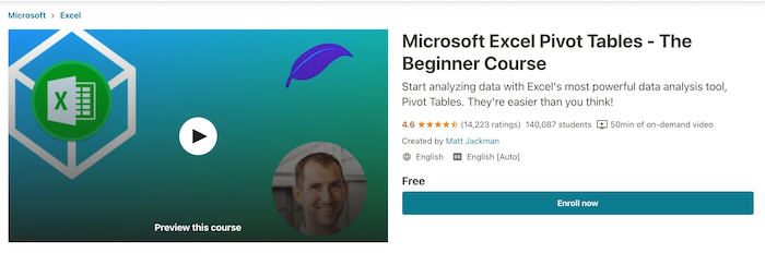 Udemy Free Course Microsoft Excel Pivot Tables