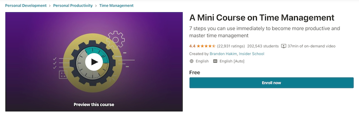 Udemy Free A Mini Course on Time Management