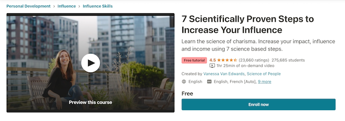 Udemy Free Course 7 Scientifically Proven Steps to Increase Your Influence