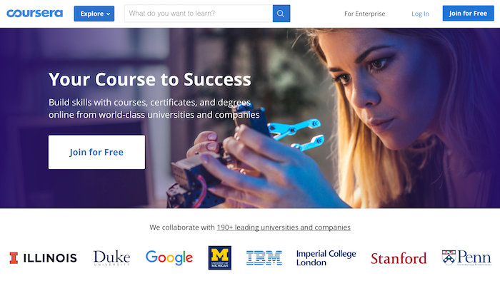 Coursera offers free courses